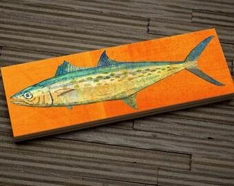"Fish Gifts- Medium Saltwater Fish Art Block- Spanish Mackerel Print- 9""x3"" Fish Wall Decor Fisherman Gift for Husband Gift- Beach Decor"