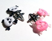 2 Pairs of Cute Skull Barrettes Pink and Black