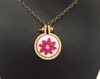 """Hot Pink Daisy 1"""" Embroidered Hoop Necklace with Chain"""