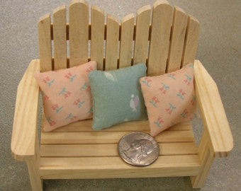 Free US Shipping! Miniature Dollhouse Sofa or Bed THROW PILLOWS 3-pc Set #0044