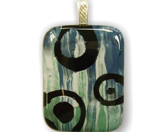 Fused Glass Pendant Hand Painted