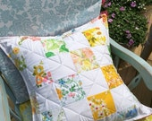 35% OFF CRAZY SALE- Floral Throw Pillow-Cushion-Eco Friendly-Vintage Bed Linen Patchwork