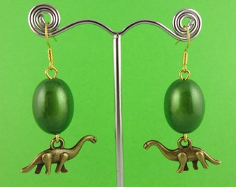 Baby Dinosaur Earrings - mini Diplodocus dinos with shiny green or golden brown eggs - Longneck Land Before Time Littlefoot paleontology