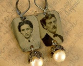 Betrothed - Antique 1870s Tintype Photographs, Pearls, Ornate Beadcaps Recycled Repurposed Jewelry Assemblage Earrings