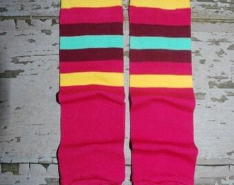 pink stripes, arm warmers, baby leg warmers, baseball leggings, football, toddler leg warmers, baby legwarmers, crawler socks, babylegs