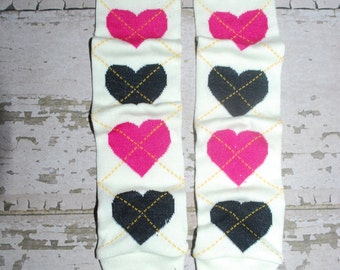 cream, pink, black, baby leg warmers, hearts, babylegs, girl outfit, girl clothes, infant clothing, child legwarmers, toddler accessories