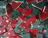 Mosaic Tiles Mix Broken Plate Art Hand Cut Pieces Supply Porcelain Red Green Galaxy Mix Stars Gold 100