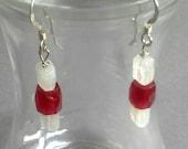 Red Antique Glass White Rainbow Moonstone Earrings