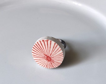 Broken China Ring - Red and White