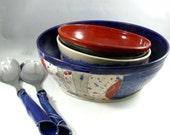 Large Blue Ceramic Kitchen Serving Bowl, Pasta Serving Bowl in woodland  design Art Vessel for Home Decor