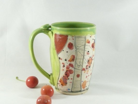 Handmade Pottery Mug, Gifts for Teachers, with owl and daisy, Pencil Holder, ceramics and pottery, Tea Cup, Teacup, Beer Stein, Tankard, 484
