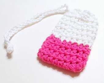 Crochet Soap Saver, Cotton Soap Saver, Pink White Crochet Soap Saver, Crochet Soap Sack, Crochet Soap Bag, Reusable, Ecofriendly