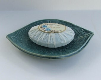 Hand Built Soap Dish, Persimmon Leaf, Footed, Antique Blue