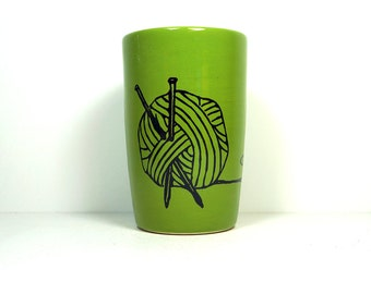 18oz tumbler with a Yarn ball print shown here on Avocado green, made to order / pick your colour
