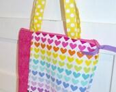 Girls Tote Bag or Purse - Rainbow Hearts - Girls Rainbow Purse - Girls Church Bag - Pink Blue Green Yellow Bag -
