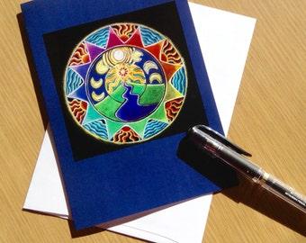 Visioning Mandala  -Journey to the Mountain Mandala Greeting Card -  Blank Art Card Colored Pencil Drawing- Blank-