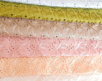 Eyelet fabrics, 6 pieces,  see listing for sizes