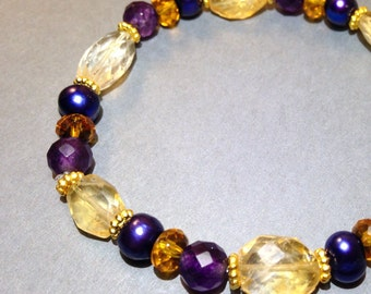 Citrine And Amethyst Bracelet - Stretch Bracelet -Freshwater Pearls - Gold Bracelet - Statement Bracelet - Wrap Bracelet - Gift For Her