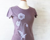 Womens Hemp Organic Cotton T-shirt with Poppy - Light Purple