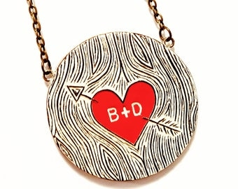 Personalized Couple Necklace, Faux Bois Jewelry, Custom Initial Necklace, Woodgrain Pendant, Anniversary Gift, Red Heart Necklace, Wife Gift