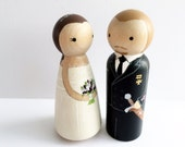 Custom Peg Doll Wedding Cake Toppers - Bride and Groom!