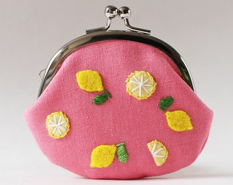 Kiss lock coin purse lemons on pink linen embroidery citrus yellow watermelon pink hand-embroidery change purse pink coin purse fruit