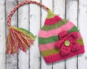 SALE 6 - 12 month Baby Girl FLoWER Hat Knit PHoTO PRoP Girly Stocking Cap LoNG TAiL Hot Pink Lime Green Stripe BeANiE TaSSeL FCN Toque GiFT