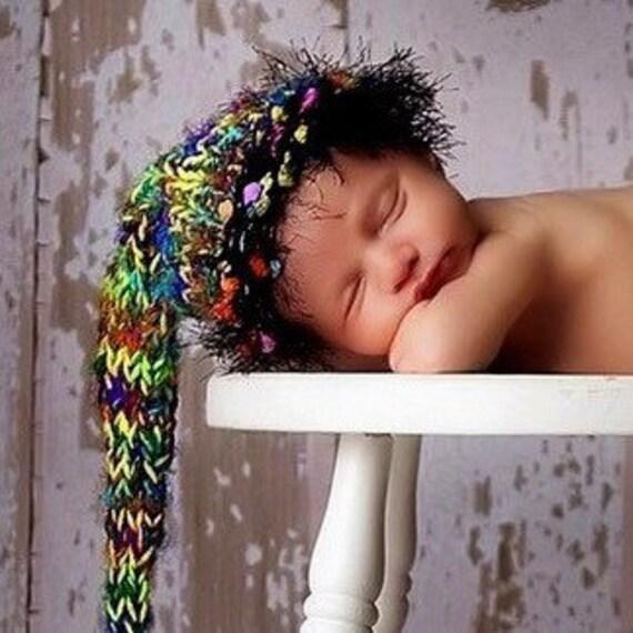 Newborn Knit Hat BaBY PHoTO PRoP Unisex Long Tail Stocking Cap FaT Tassel FuZZy BRiM Black Green Yellow SaRI SiLK BeANiE Textured OZ Toque