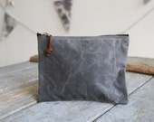 Waxed Canvas and Leather Zipper Pouch 4 colors/ Vegan Option/ Coin Pouch/ Canvas Zipper Bag/ Canvas Bag/ Travel Organizer/ iPhone Organizer