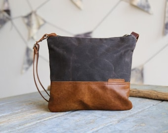 Waxed Canvas and Leather Crossbody Bag Portobello / Handmade Leather and Canvas Purse / Foldover Bag with Strap