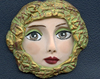 "Polymer Clay Larger  2 1/4 ""  Art Nouveau Green with Plum, Gold  Goddess Face Cab DFWH 1"