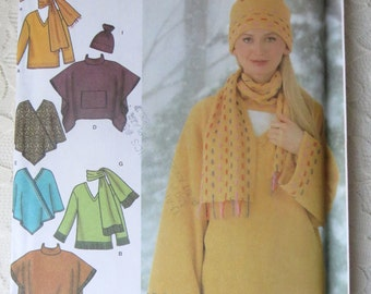 Simplicity 4782 Loose Fitting Pullover Top, Poncho with Variations, Scarf & Hat Fleece Sewing Pattern Size AA XS-Sm-Med 6-16 OOP