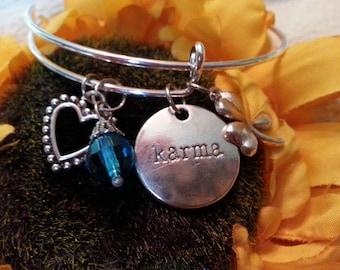 Modern charm bracelet - stackable  - Karma, clover crystal drop, heart, blue bead