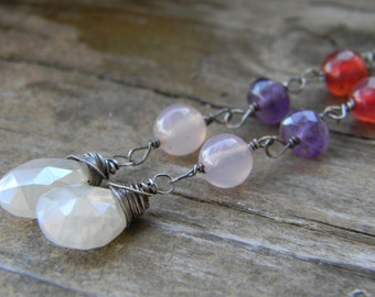 Pearl Chalcedony, pale pink chalcedony, amethyst and agate - dangle - oxidized silver