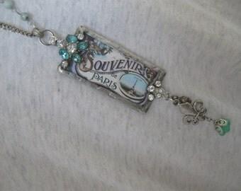 Paris Necklace, vintage Paris, soldered pendant, antique French, bohemian, long chain, boho, Parisian, vintage paste, repurposed vintage