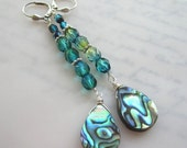 25% SALE Abalone Shell Earrings.  Abalone Shell and Crystal Glass Dangles.