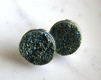 Green Druzy Post Earrings, Green Drusy Post Earrings, Stud Earrings.  Under 25, Gifts for Her.