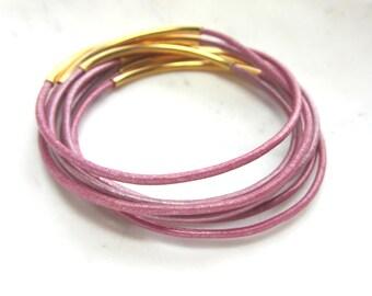 Metallic Pink Leather Bangles. Pink Bangle Set. Set of 8. Under 25. Pink Leather Bracelets.