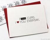 Valentines Day Card. Mature Valentine. F*ck Cupid. Funny Valentine Card. Cupid Card.