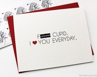 Valentines Day Card. Mature Valentine. F*ck Cupid. Funny Valentine Card. Cupid Card.