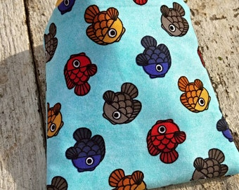 All the little fishes blue square zipper pouch