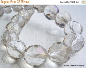 50% OFF SALE Crystal Twilight Czech Glass Beads 14mm Faceted Round - 6