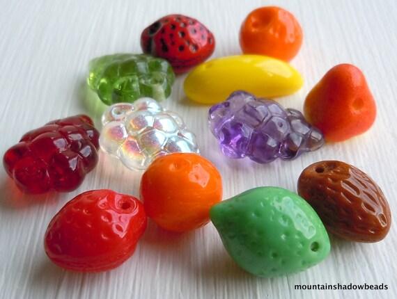 Czech glass beads fruit pressed