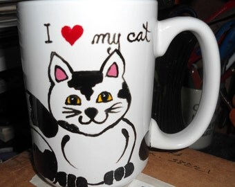 Hand painted Mug,cat mug,cat,spotted cat mug,Black spotted cat,coffee,latte,hand decorated,collectible, ceramic mug,clay mug, cat mug,