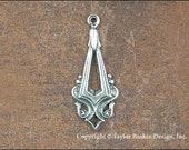 Antiqued Sterling Silver Plated Art Deco Earring or Pendant Drop (item 1138-Q AS)