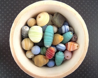 RUSTIC Colorful India Striped Matte Glass Bead Mix, 6mm, 12mm, 16mm, India Glass Beads, Striped Colorful Bead Mix, Opaque Colorful Mix X22