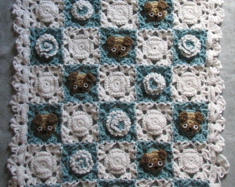 Baby Blanket Pattern - Pug Lace and Flowers Baby Afghan Crochet Pattern - Baby Crochet Pattern - Baby Afghan Pattern - Digital Download