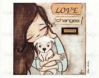 Print of my original mixed media folk art painting - Love Changes Everything -8 x 8 image