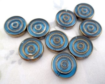 8 pcs. glass concentric circle intaglio turquoise blue beads w antiqued gold 16x4mm - f4938
