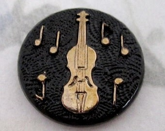 4 pcs. vintage glass black jet w gold cameo relief bass violin music flat back cabochon 18mm - f4934